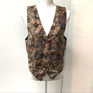 Vintage Green Floral Velveteen Button-Up Vest M/L